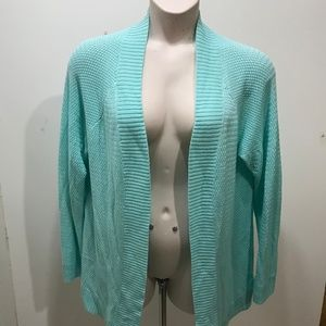 Coldwater Creek 1X Cardigan Open Front Mint Green